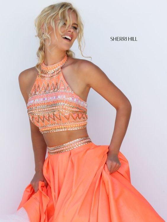 coral prom dress geometric