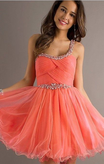 coral prom dress one shoulder