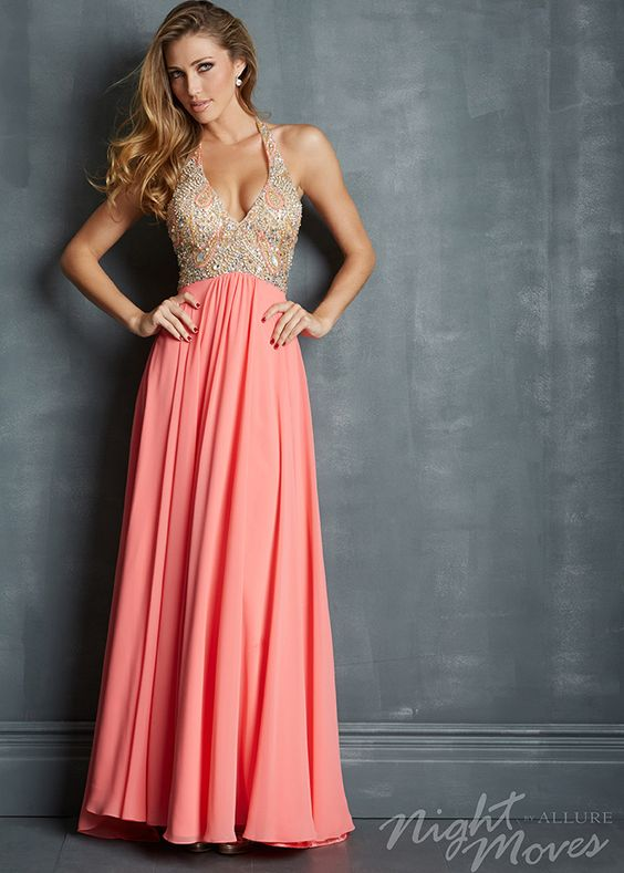 coral prom dress halter