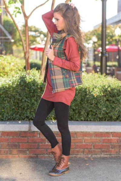 crepe and green plaid vest over t shirt dress