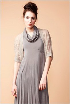 crepe bolero jacket grey cowl neck chiffon maxi dress
