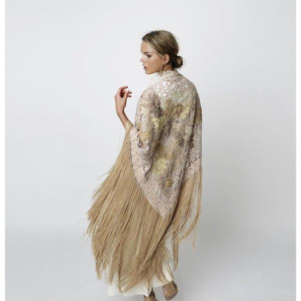 crepe floral fringe wrap white maxi dress