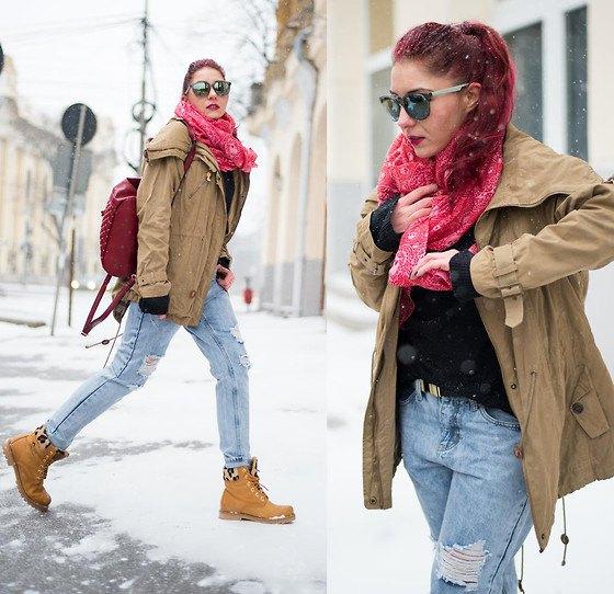 crepe parka jacket ripped boyfriend jeans