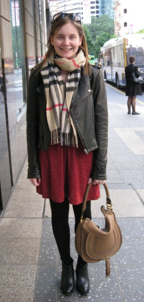 crepe scarf grey leather jacket brown shift dress