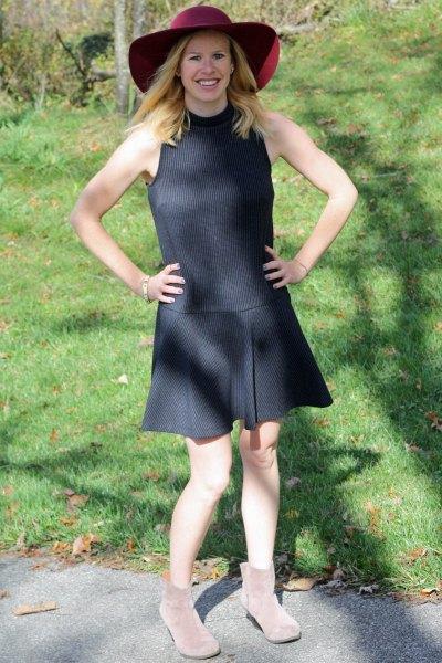 dark grey ribbed sleeveless drop waist dress