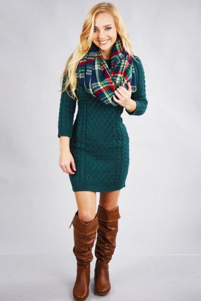 dark teal knit sweater dress boots