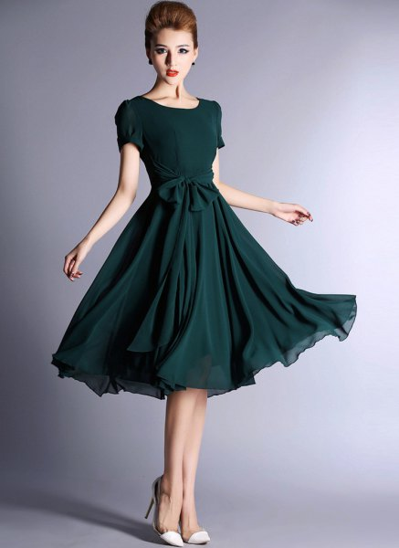 dark teal short sleeve midi flare chiffon dress