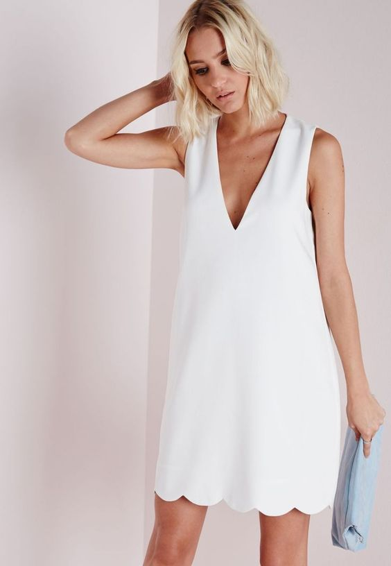 white scalloped dress v neck