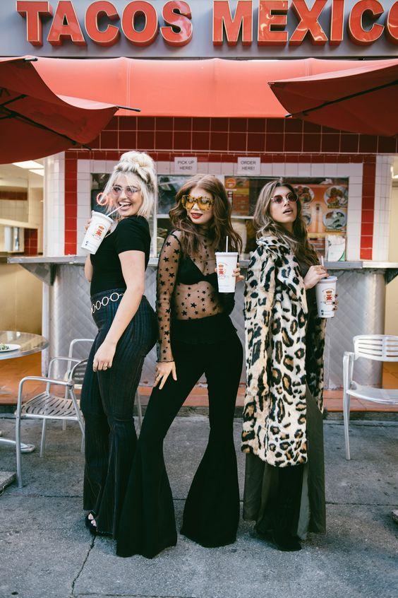 flare leggings three girls