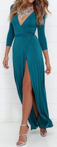 deep v neck high split wrap dress