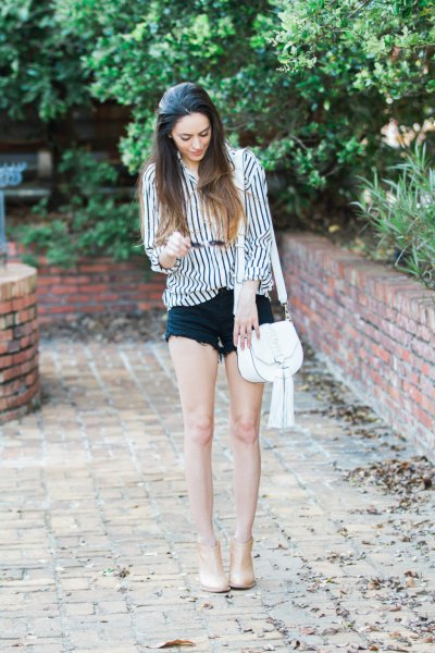 denim shorts black and white striped shirt