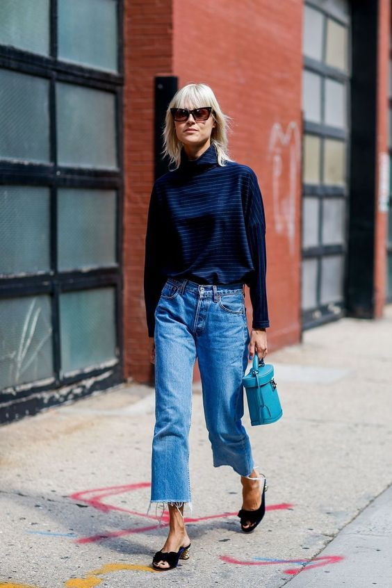 frayed bottom jeans chunky turtleneck