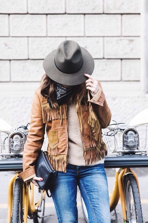 fringe leather jacket brown bandana