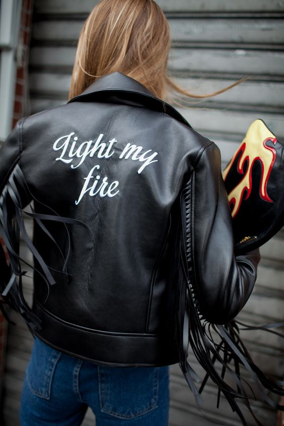 fringe leather jacket message