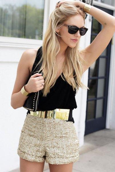 gold belt black vest top