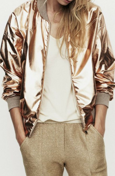 gold metallic jacket green tweed pants