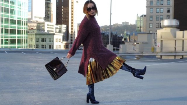 gold pleated metallic skirt black over the knee velvet boots