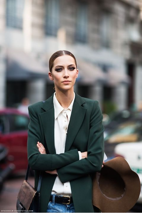 green blazer sophisticated workwear