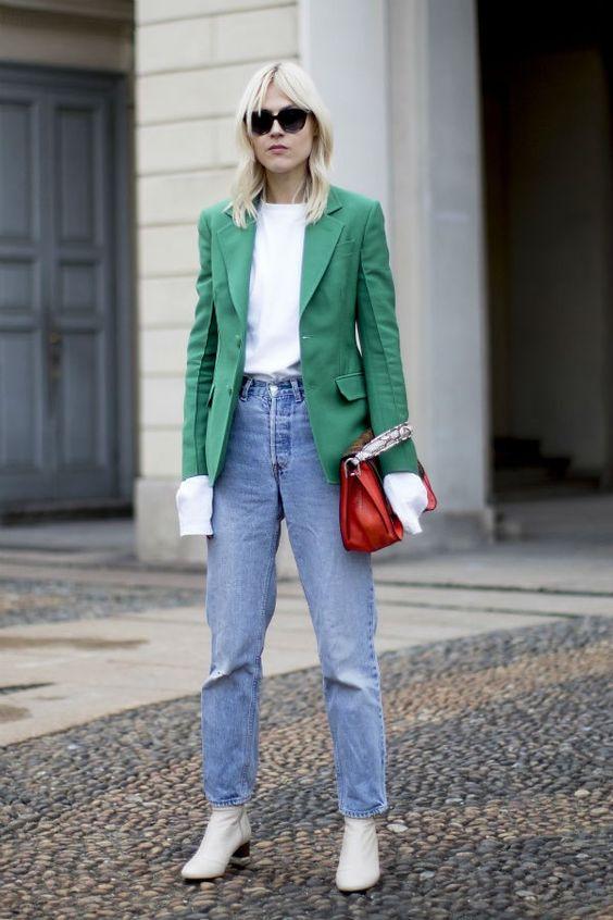 green blazer white details