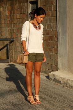 green khaki shorts white fitted sweater