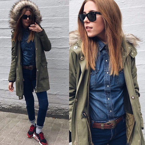 green parka jacket chambray shirt skinny jeans