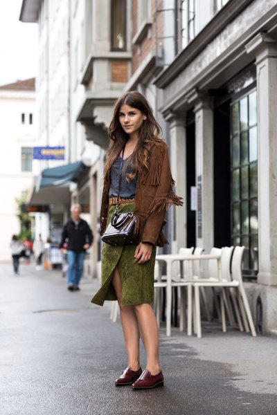 green suede wrap midi skirt