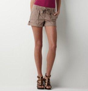 green tank top khaki mini shorts