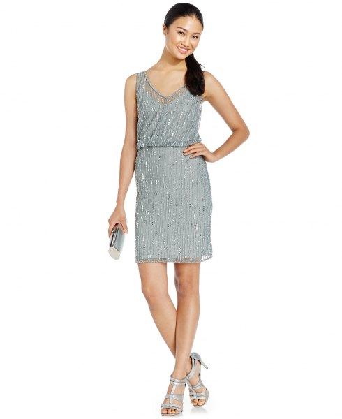 grey blouson mini dress silver sequin details