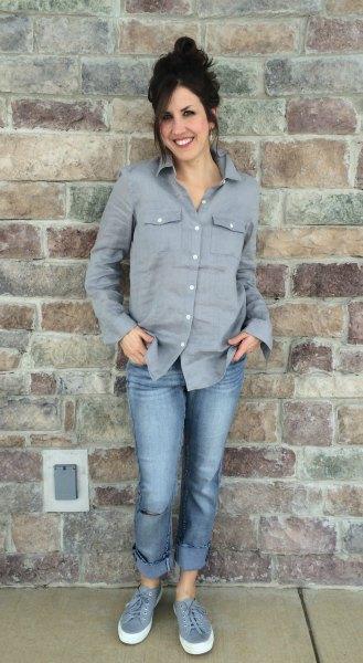 grey button up shirt cuffed boyfriend jeans