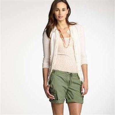 grey cardigan with green khaki cargo cuffed shorts