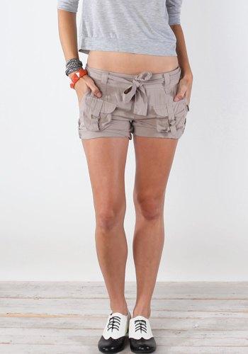 grey cropped long sleeve tee cargo mini shorts