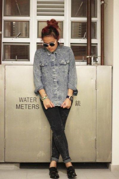 grey denim shirt cuffed black jeans