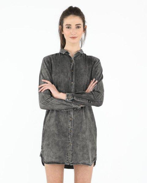 grey denim shirt dress