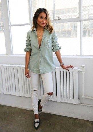 grey denim shirt white ripped skinny jeans