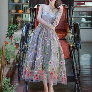 grey empire waist maxi flared dress