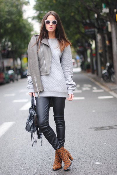 grey jacket chunky sweater black leather leggings