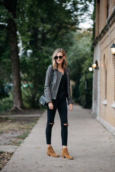 grey leather jacket all black outfit