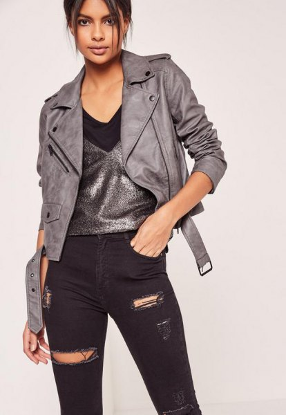 grey leather jacket silver vest top ripped black jeans