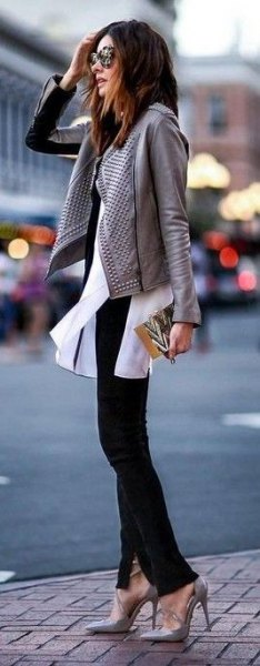 grey leather jacket white chiffon blouse