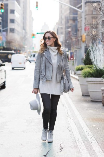 grey leather jacket white turtleneck sweater dress