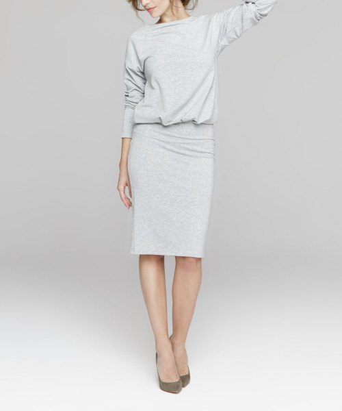 grey long sleeve blouson knee length sweater dress