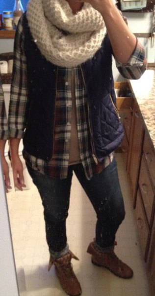 grey plaid button up shirt grey fold over ankle boots