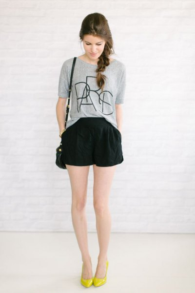 grey printed t shirt black flowy shorts