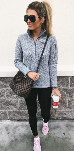 grey pullover black leggings white sneakers