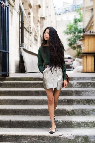 grey sweater silver metallic mini wrap skirt