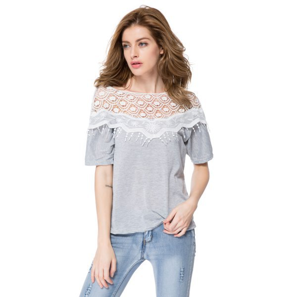 grey t shirt with lace and fringe details