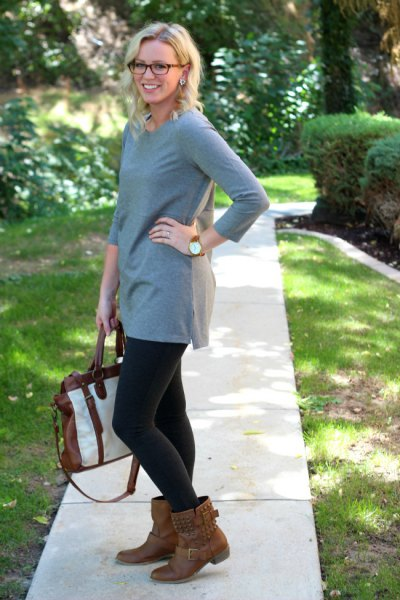 grey tunic brown boots