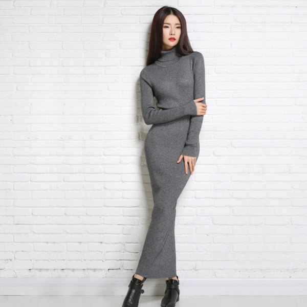 grey turtleneck maxi dress black leather boots