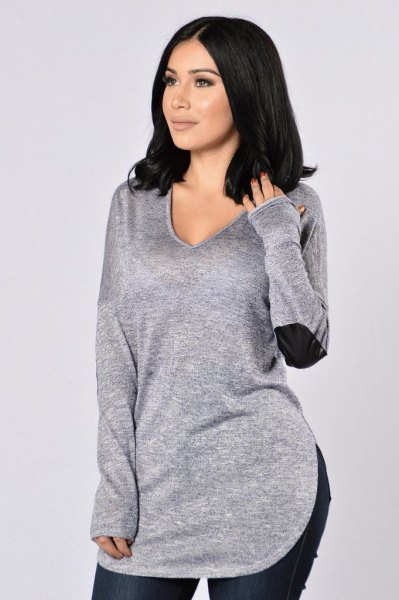 grey v neck elbow patch sweater