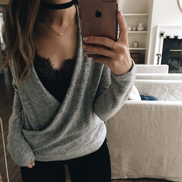 grey wool cardigan over black lace vest top